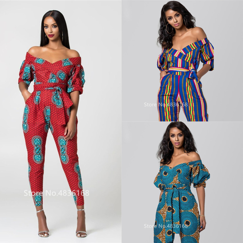 2020 <font><b>News</b></font> African Clothes Autumn Ladies Robe Africaine Jumpsuit Plus Pant Dashiki Fashion Shoulder Off African Dresses For Women image