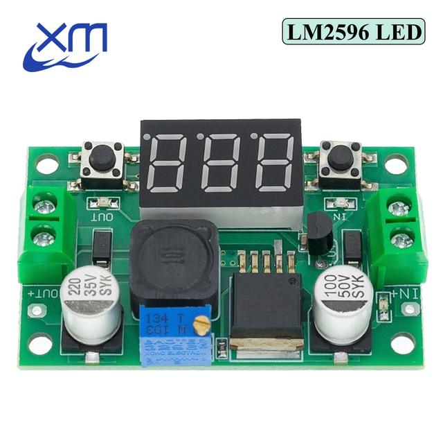 Módulo de alimentación reductor ajustable LM2596S LM2596 DC 4,0 ~ 40 a 1,3 37V + MÓDULO DE DC DC voltímetro LED, barato