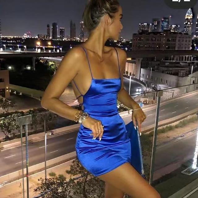 Articat Spaghetti Strap, Mini Satin Dress 3