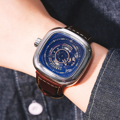 CAROTIF Luxury Men Mechanical Watch Alloy Pin Buckle Stainless Steel Watch Tourbillon Fashion Trend Square Leather Men's Watch
