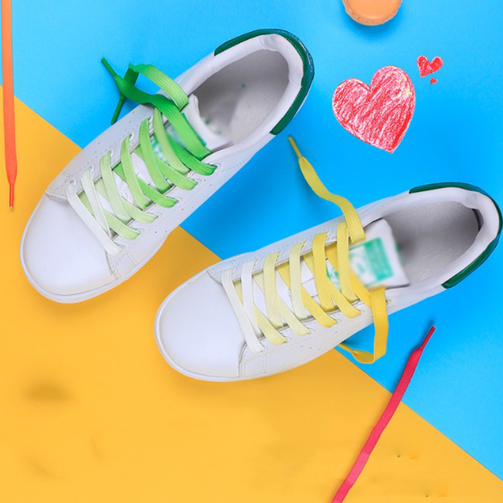 1Pair Colorful Laces Rainbow Gradient Print Flat Canvas Shoe Casual   Athletic Sport Sneaker Boots Shoelaces Kids Adult