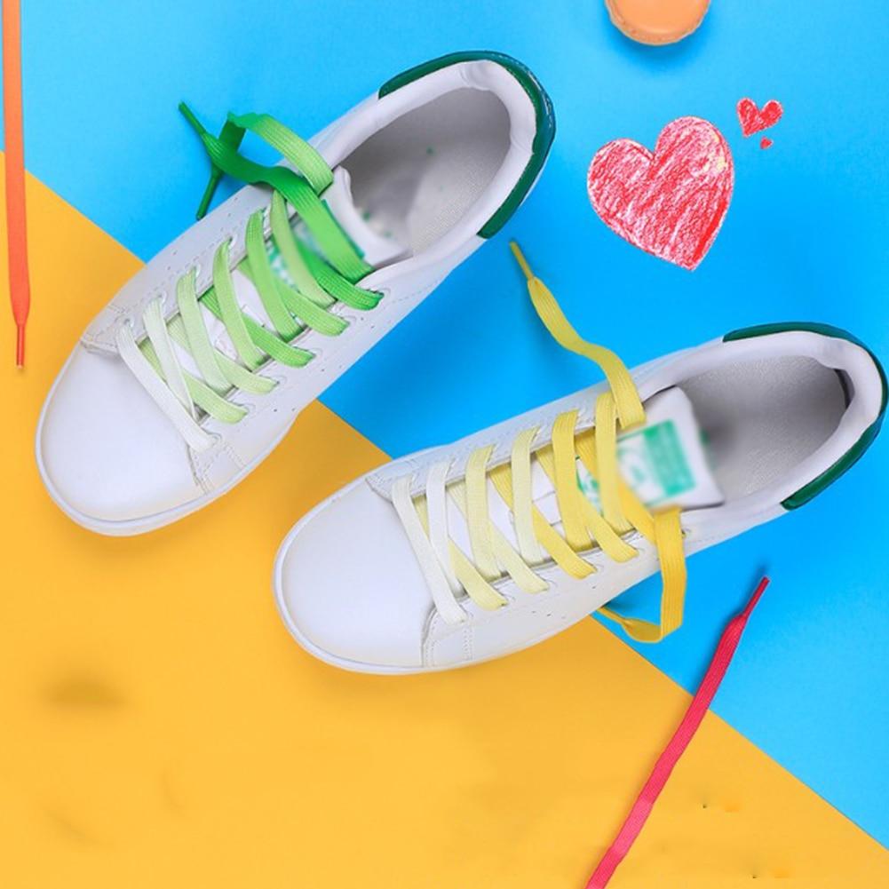 1Pair Colorful Laces Rainbow Gradient Print Flat Canvas Shoe Casual   Athletic Sport Sneaker Boots Shoelaces Kids Adult