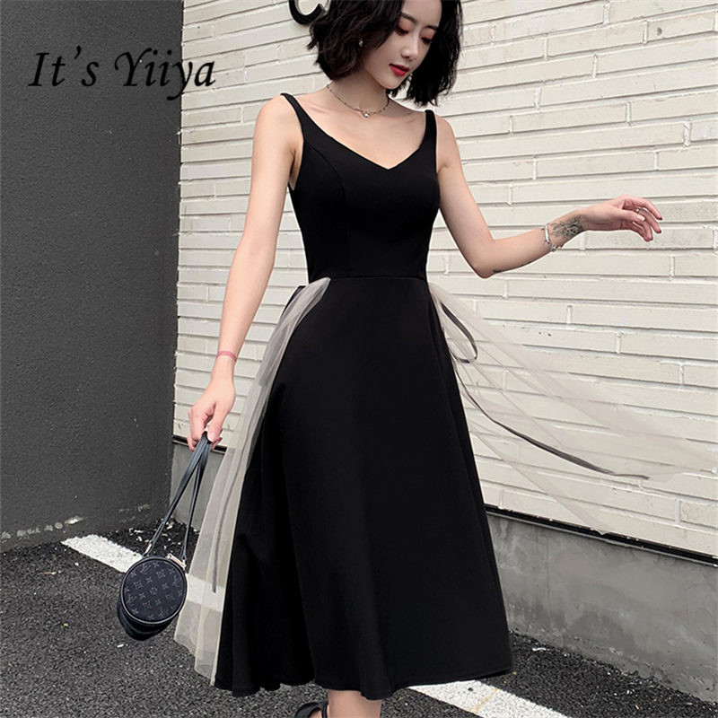 It's YiiYa   Cocktail     Dress   2019 Sexy V-Neck Sleeveless Black Robe   Cocktail   Gowns Knee-Length A-Line Woman Party   Dresses   E895
