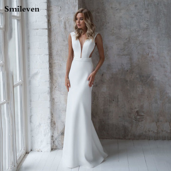 Smileven Sexy Mermaid Wedding Dresses 2020 Soft Satin Backless Bride Dress Vestido De Noiva Custom Made