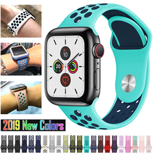 New Breathable Silicone Sports Band for Apple Watch 5 4 3 2 1 42MM 38MM rubber strap bands for Nike+ Iwatch 5 4 3 40mm 44mm