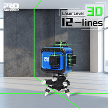 PROSTORMER – niveau Laser 3D 12 lignes à nivellement automatique, lignes transversales horizontales et verticales à 360 degrés, outils de Construction Laser vert