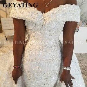 Image 3 - 2020 luxus Off Schulter Spitze Meerjungfrau Afrikanische Hochzeit Kleid mit Abnehmbaren Zug Plus Größe Backless Nigerian Frauen Brautkleider