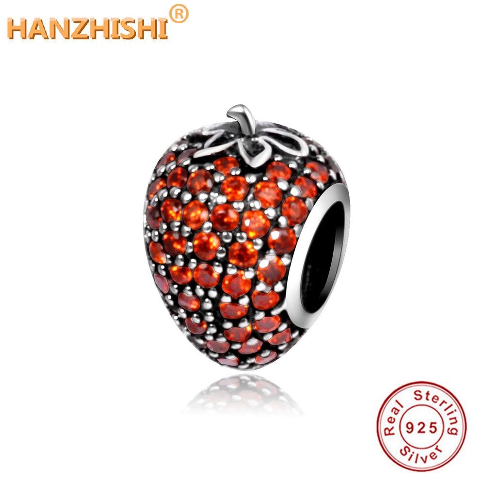 Hodí se Pandora Náramek 2021 Podzim Originální Pave Jahodová Kouzla S CZ 925 Mince Stříbrné Ovocné Korálky Pro Kutilství