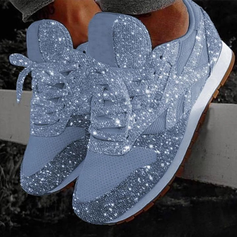 Glitter Sneakers Women Flat Bling Casual Vulcanized Shoes Woman Mesh Lace Up Women's Walking Running Shoes Female Plus Size