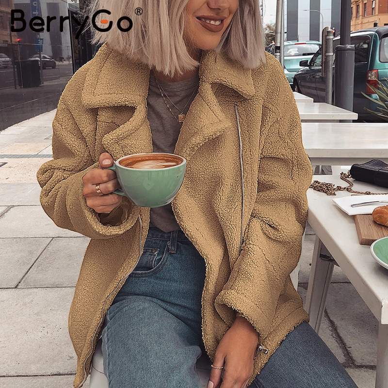 BerryGo Teddy Fluffy Thick Faux Fur Coat Women Casual Luxury Ladies Jackets Overcoats  Zippers Autumn Winter Warm Female Coats