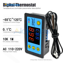 DC 12 24V AC 110-220V W3231 LED Single/Dual Display Digital Suhu Controller Thermostat Control dengan NTC Sensor Probe(China)