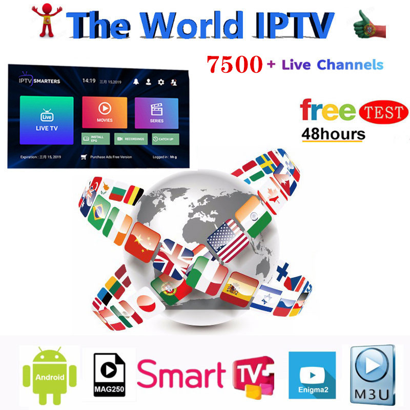World IPTV m3u subscription 1 Year For Portugal Spain Brazil Dutch Italy USA France Iptv m3u Subscription for 9.0 Android TV Box