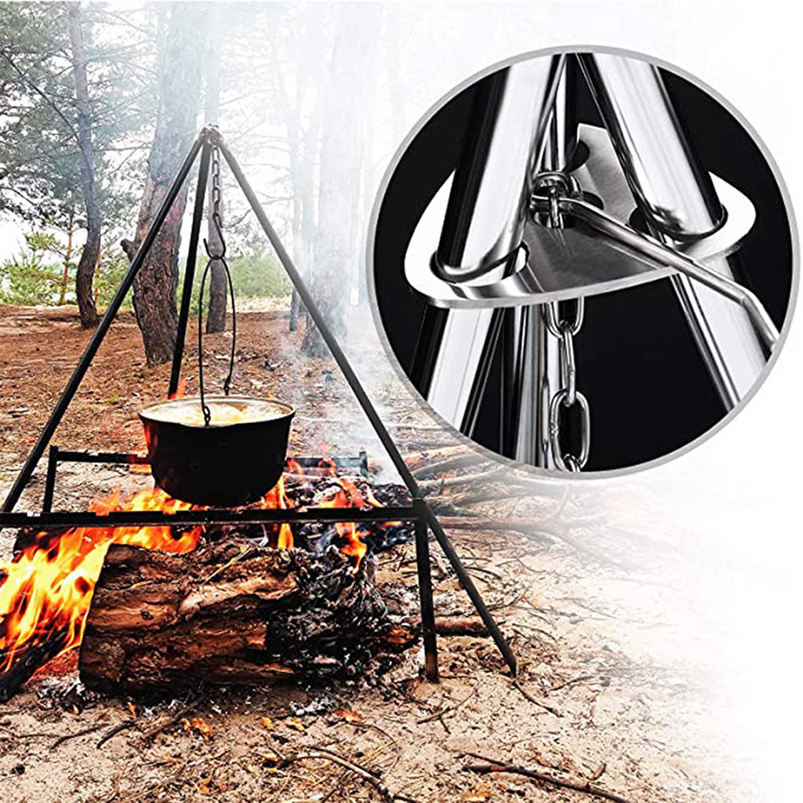 Cooking Camping Campfire Tripod with Storage Bag Aluminium Alloy 80 cm Height Folds Removable Portable Stand Tool Outdoor
