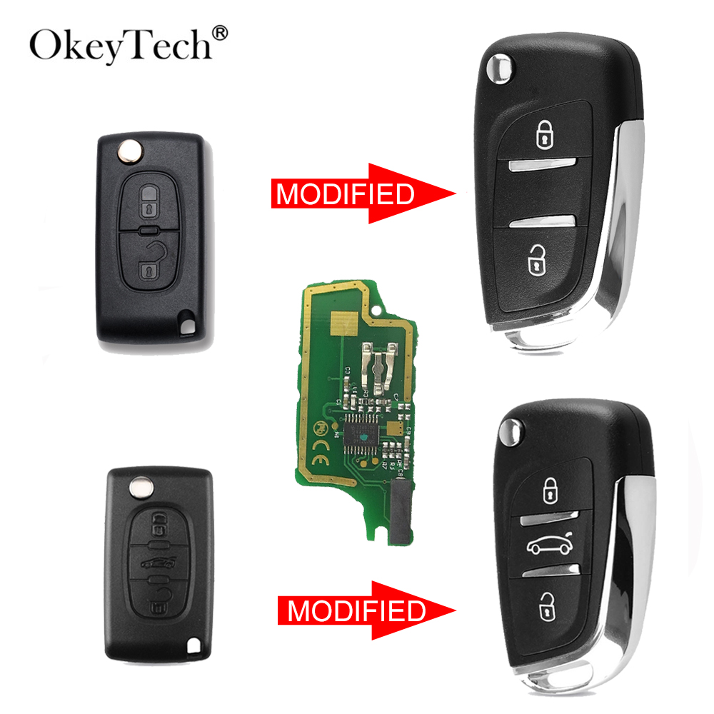 OkeyTech  ID46 Chip Modified Folding Remote Key Fob 3 BTN For Peugeot 307 408 308 For Citroen C2 C3 C4 C5 C6 Xsara Grand Picasso