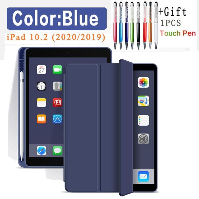 Flip Case-Dark blue Black Silicone Case For iPad 10 2 2020 2019 Pu flip leather case For iPad 10 2