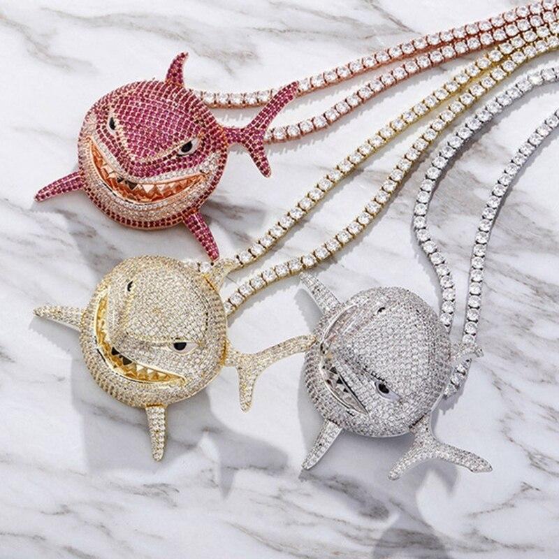 Ожерелье из нержавеющей стали с металлической подвеской в виде акулы для мужчин, ожерелье с рыбкой и витой цепью, очаровательное модное муж...