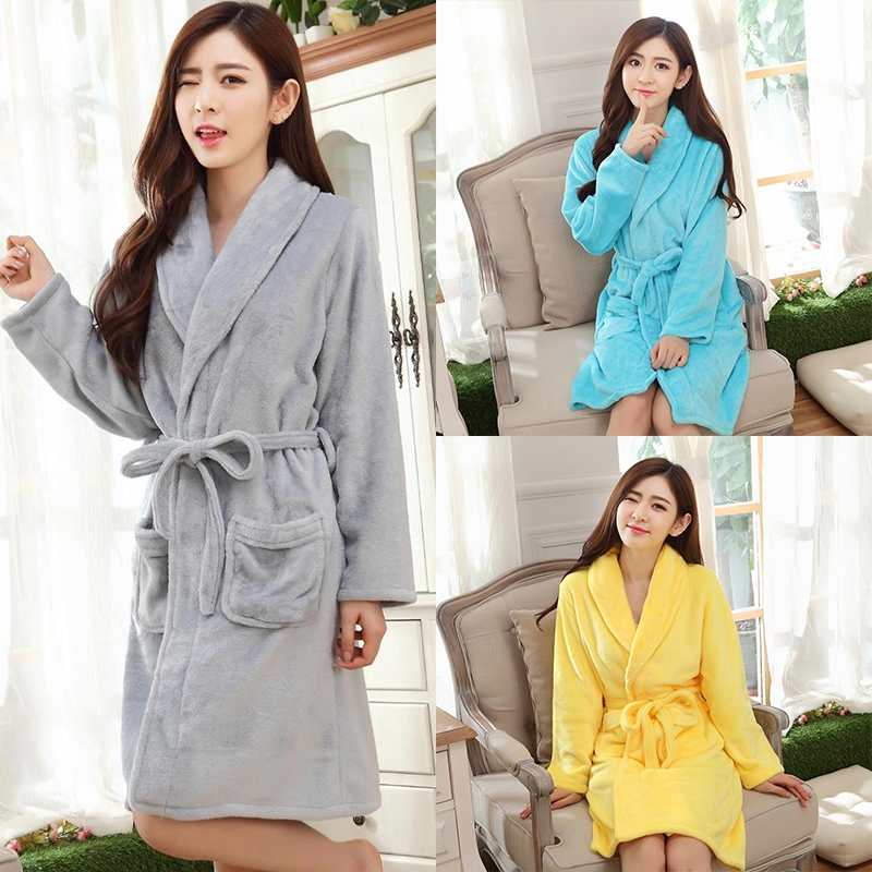 Women Autumn Winter Robes Unisex Nightgown Thickening Home Service Flannel Warm Long-sleeved Belt Bathrobe