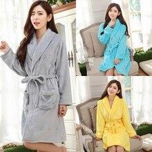 Women Autumn Winter Robes Unisex Nightgown Thickening Home Service Flannel Warm