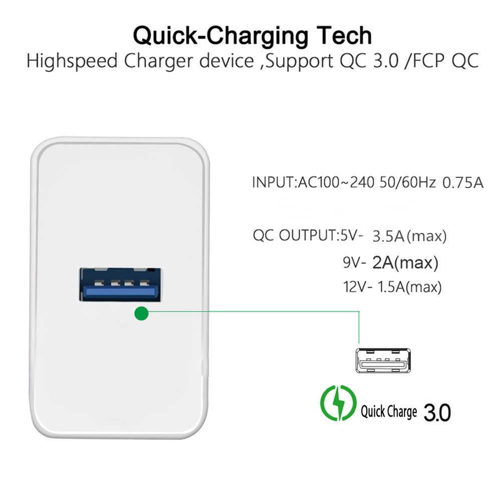 Quick Charge 3.0 1USB Charger Travel Wall Opladen Mini Gemakkelijk Voor Iphone X Xs 11 Huawei P20 P30 samsung M20 Xiaomi 8 9