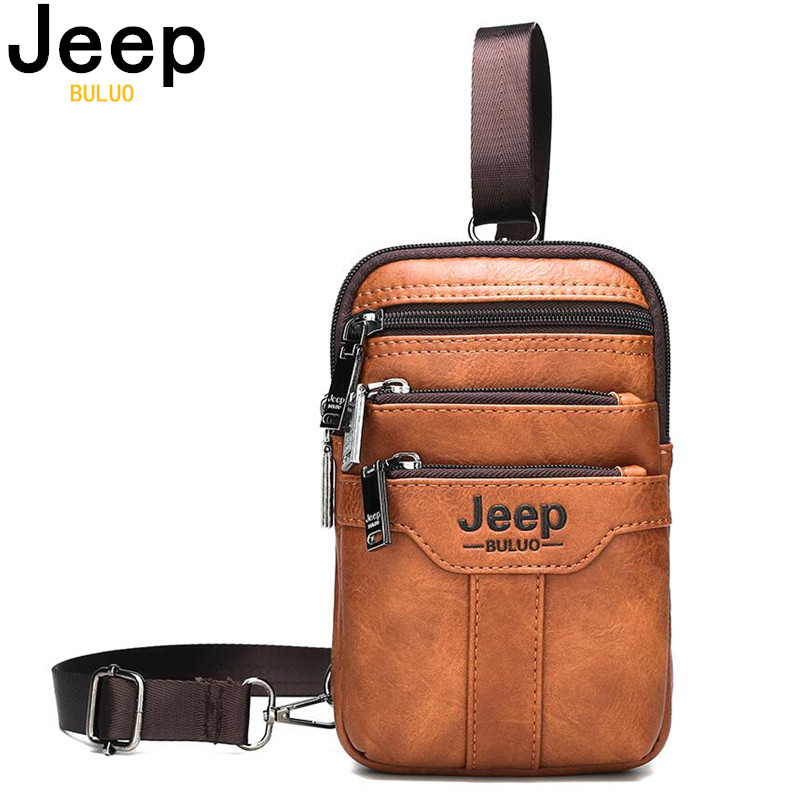 JEEP BULUO Small Multi-function Sling Chest Bag Legs Waist Bag For Man Men Shoulder Messenger Bags New Fashion Casual Crossbody