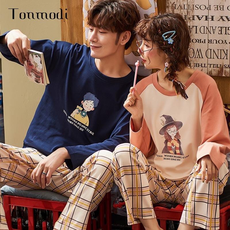 Милые пижамы с длинными рукавами и рисунком животных; Пижамный костюм для пары; сезон весна осень; Мужская пижама; повседневная домашняя оде