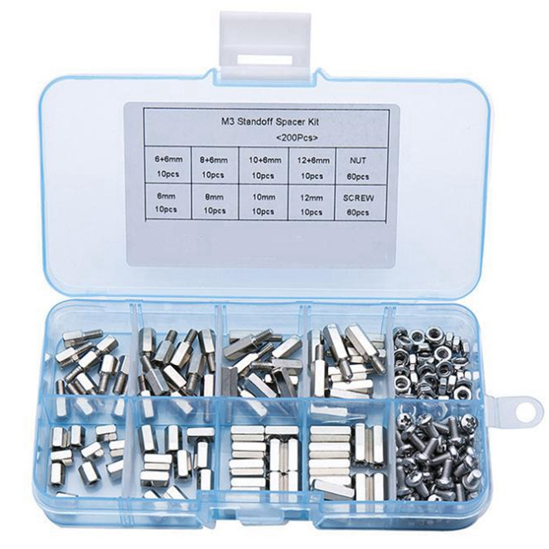 200Pcs/Set M3 Hex Nut Spacing Screw Male Female Threaded Pillar Pcb Pc Motherboard Nickel Plated Standoff Spacer Kit|Nut & Bolt Sets| |  - title=