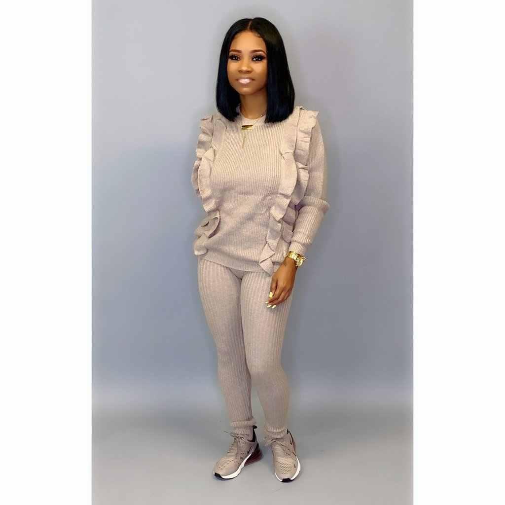 秋ニットエレガントな女性のセット長袖フリルスプライシングのセーター鉛筆パンツスーツ 2 点セットトラックスーツの衣装 GL244