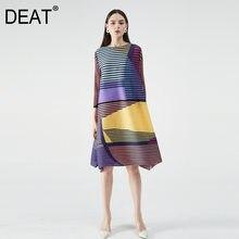 DEAT abito con volant donna manica lunga Hit Color Stripe lunghezza lunga abiti Slim stile Casual elastico 2021 nuova moda estiva AM396