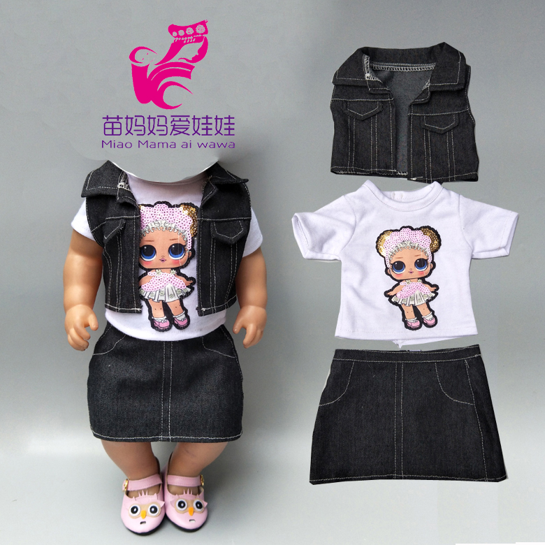 Baby New Born Doll Clothes Jeans Vest Shirt And Skirt For 18 Inch Girl Doll Coat White Shirt Denim Dress Set