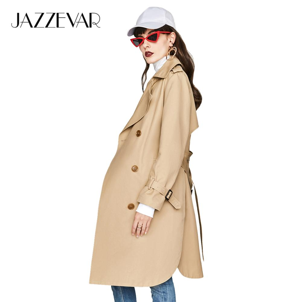 JAZZEVAR New 2019 Autumn Fashion Casual Women's Khaki Trench Coat Double Breasted Long Outerwear For Lady With Belt High Quality