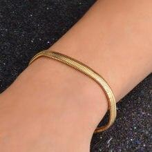 Bracelets à chaîne en acier inoxydable, bijoux pour hommes et femmes, couleur or argent, serpent, 5MM, 316L