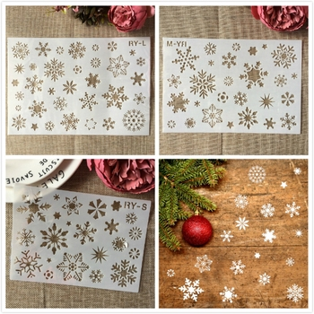 S M L Snow Winter Christmas Holiday Snowflake DIY Layering Stencils Painting Scrapbook Coloring Embossing Decorative Template