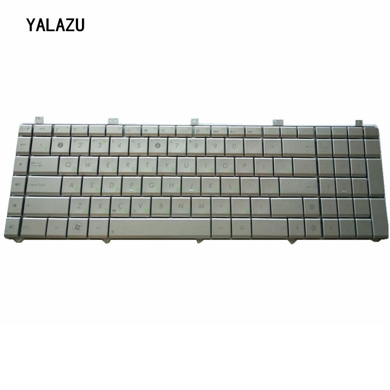 YALUZU NEW Russian Layout Silver Laptop <font><b>Keyboard</b></font> for <font><b>Asus</b></font> N55 <font><b>N55S</b></font> N55SL N55SF N55X N75S N75SF N75SL Silver replacement <font><b>keyboard</b></font> image