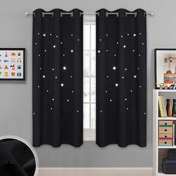 Rideaux occultant à motif étoiles pour chambre