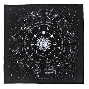 49*49cm Tarot Card Mat Cotton Starry Divination 12 Constellation Transshipment Astrological Tablecloth Board Game Card Games