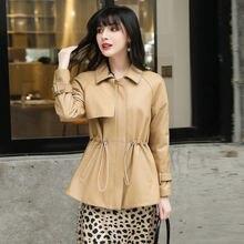 Женская новая модная куртка из натуральной овечьей кожи модель