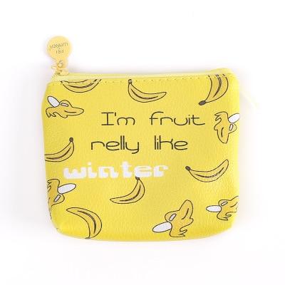 Желтое дно банан корейский мультфильм милый молния косметичка Женская Мини Холст студенческая креативная Мужская простая монета сумка