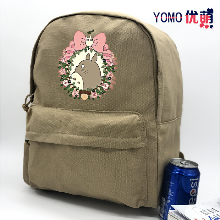 Miyazaki Totoro <font><b>Spirited</b></font> <font><b>Away</b></font> Shoulder School Bag Men And Women High Students Canvas <font><b>Backpack</b></font> College Style Cloth Bag image