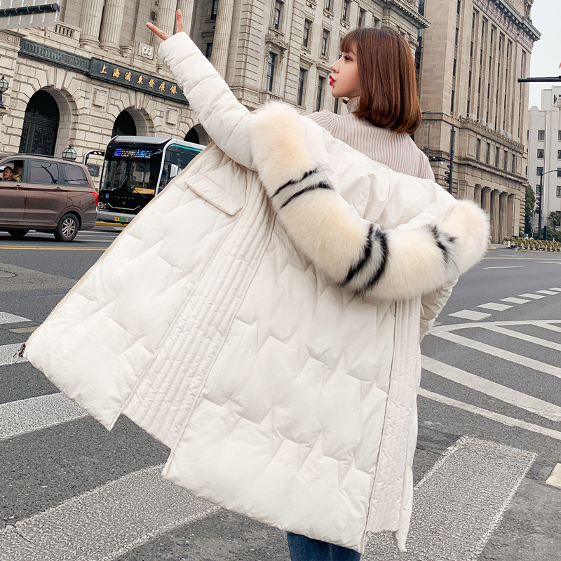 Hooded Fur Collar Winter Coat Jacket Long Thick Warm Women 2019 Casual Long Sleeve Student Wadded   Parkas  `