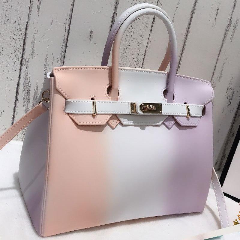 Handbags 2020 New Colorful Contrast Color Bag Women Large Jelly Bag Fashion One-shoulder Diagonal PVC Women's Big Bag