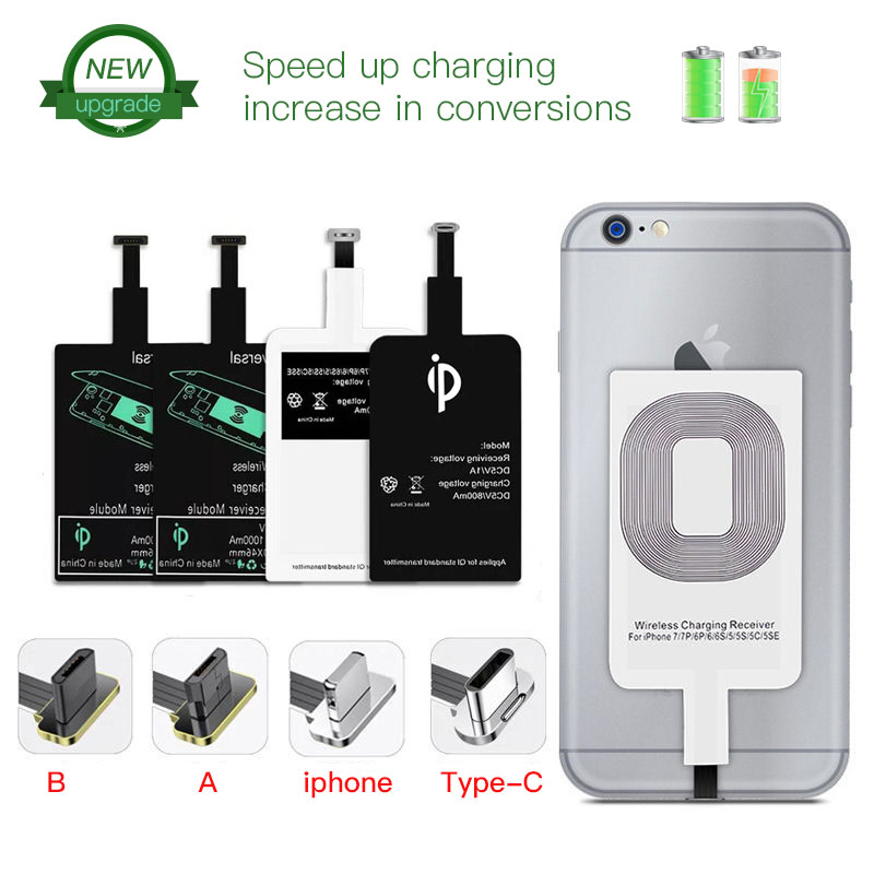 NEW Wireless Charger Receiver Universal Fast Wireless Charging Adapter Mat For IPhone 7 6s Plus Micro USB Type C Samsung Huawei