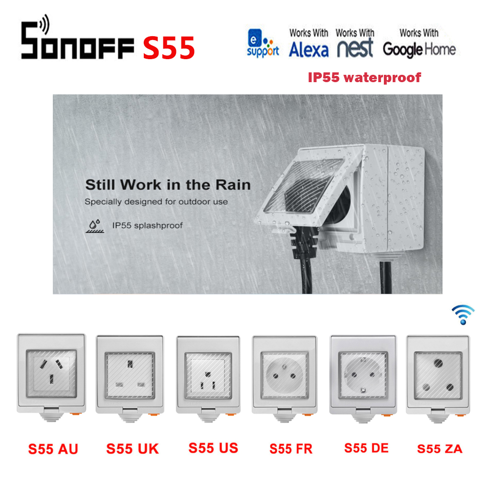 SONOFF S55 Wi Fi Smart Socket IP55 waterproof for outdoor use work with Amazon Alexa Google home IFTTT remote control by ewelink|Home Automation Modules| |  - title=