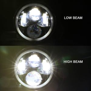 Image 4 - Pair 7 Inch Round LED Headlights High Low Beam White Halo Ring Angel Eyes DRL + Amber Turning Signal Lights for Jeep & Hummer