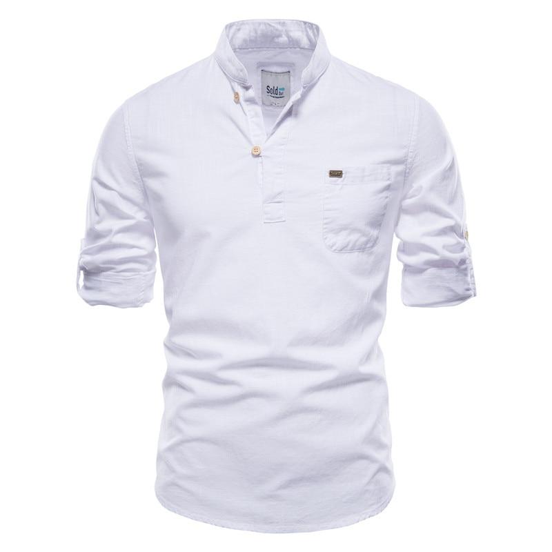 2021 primavera outono camisas de manga longa masculina pulôver algodão e linho casual magro camisa masculina simples e retro (tamanho da ue) sh204