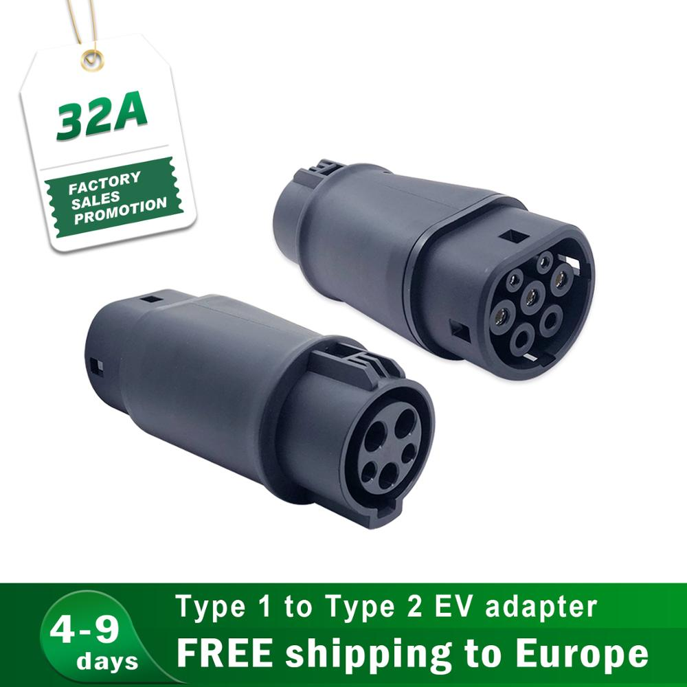 Electric Vehicle Charging Adapter Barrel 32A EV Charger Connector Type 1 to Type 2 SAE <font><b>j1772</b></font> to IEC62196 image
