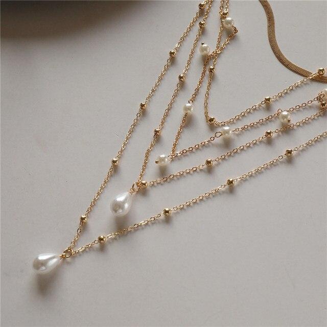 multi chain pearl  choker-necklace 3