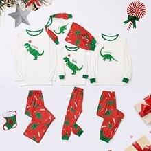 """Пижамный комплект для всей семьи на Рождество с принтом """"динозавр"""";"""