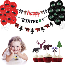 Lumberjack Theme Party Decoration Happy Birthday Banner Balloons Cake Topper for Supplies