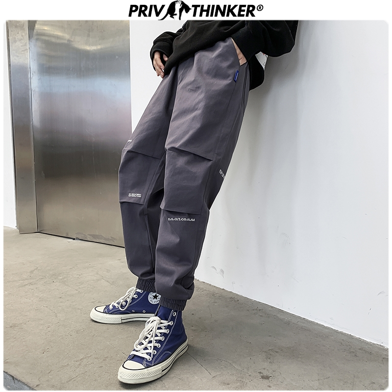 Privathinker Men's Autumn New Japan Style Cargo Pants Men Fashion Casual Printed Streetwear Joggers Male 2019 Hip Hop Trousers