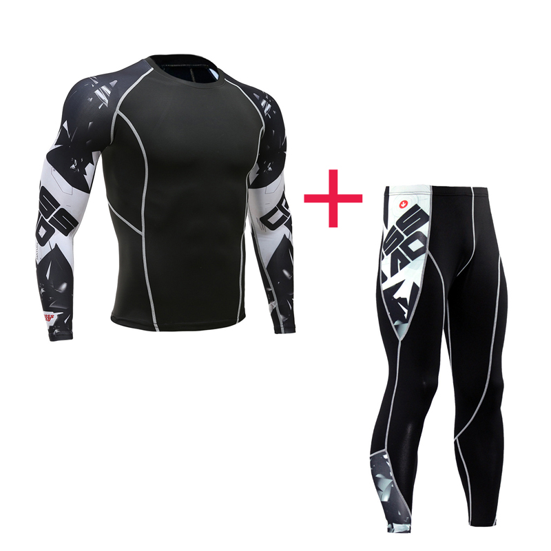 Men's Sportswear Suit Compression Tights Thermal Underwear Long T-shirt Fitness Leggings Union Suit Base Layer Jogging Suits 4XL